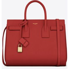 Saint Laurent Classic Small Sac De Jour Bag (£2,540) ❤ liked on Polyvore featuring bags, handbags, purses, bolsas, red, handbag purse, embossed handbags, yves saint laurent, red bag and purse bag