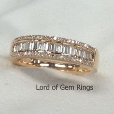 Natural VS1 Baguette/Round Cut .65ctw Diamonds Solid 14K Yellow Gold Half Eternity Wedding Band Ring,Anniversary Ring