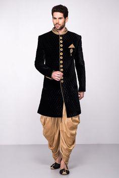 a9a4686a604 MFS Black Velvet Textured Sherwani With Golden Peshawari Salwar