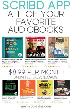 Scribd Review: The Audiobook App Alternative to Audible. This app is just $8.99 per month and allows unlimited downloads of your favorite audiobooks from Dave Ramsey, GaryVee, Grant Sabatier, Marie Kondo, and more! Click to see if your favorite audiobooks and ebooks are available! It even has sheet music and documents! #audible #scribd #audiobooks #audiobook #personaldevelopment #growth #growthmindset #personalfinance #books #booksworthreading #daveramsey #garyvaynderchuk Managing Money, Make Money Blogging, Money Saving Tips, Make Money Online, How To Make Money, Financial Peace, Financial Tips, Hustle Money, Money Makeover