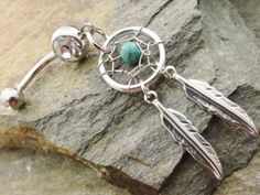 Turquoise Dream Catcher Belly Button Jewelry by MidnightsMojo, $19.00