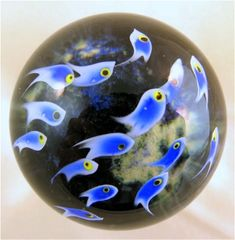 Mini Blue School of Fish Paperweight