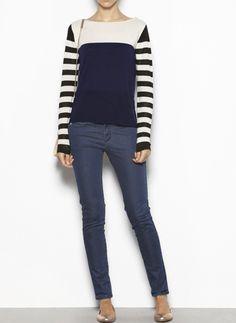 Hoss Intropia Gestreepte Trui. Skinny Jeans, Knitting, Pants, Fashion, Fashion Styles, Trouser Pants, Moda, Tricot, Breien