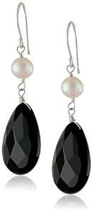 White Freshwater Cultured Pearl Accents with Sterling Silver Black Onyx Pear Drop Earrings Available at joyfulcrown.com
