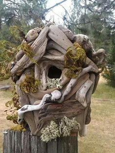 More natural can't be made by humans :  A Birdhouse of driftwood..