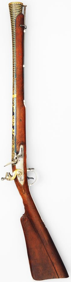 Indian (Seringapatam) flintlock blunderbuss, dated 1793–94, steel, wood, gold, silver Dimensions: Weight, 6 lb. 4 oz. (2835 g) Length, 37 1/2 in. (95.25 cm) Length of barrel, 21 3/8 in. (54.29 cm), Met Museum, Bequest of George C. Stone, 1935. This gun was made in Seringapatam, the capital of Tipu Sultan (1750–1799), the ruler of Mysore. Tipu's armories employed many European craftsmen, and his firearms reflect the most up to date technology.