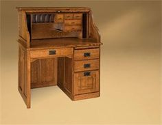 Amish rolltop desk with beautiful Mission details.