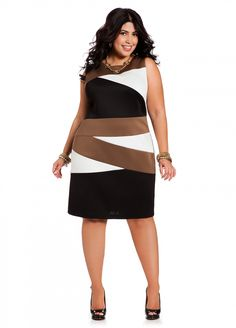 77c9c3ab88 Ashley Stewart  Scuba Color Block Dress Plus Fashion