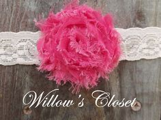 Pink Flower on light Pink lace Headband by WillowFayesCloset, $5.00