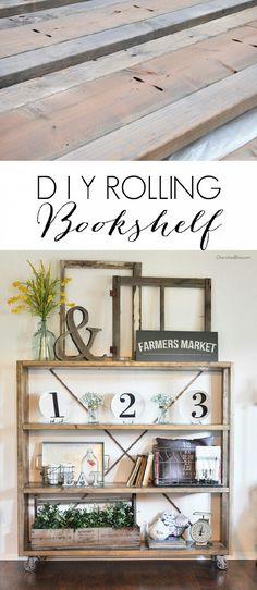 This #DIY rolling shelf is awesome! Via Ashley & Audra #restorationhardwareknockoff