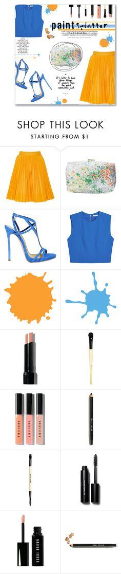 """Make A Splash!"" by lauren-a-j-reid on Polyvore featuring MSGM, Monique Lhuillier, Dsquared2, Alice + Olivia, Folio, Bobbi Brown Cosmetics, contest, paintsplatter, contestentry and fashionset"