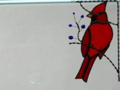 cardinal bird / stained glass window corner by GLASSCORNER on Etsy, $30.00