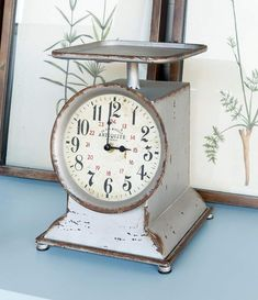 The Park Hill Little Grocery Scale Clock features an aged finish on the metal. It also comes with an antiqued paper clock face for your rustic farmhouse decor. Rustic Farmhouse Decor, Vintage Farmhouse, Country Decor, Paper Clock, General Store, Vintage Decor, Home Furnishings, Living Room Furniture, Antiques