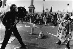 Anti Poll Tax march, Trafalgar Square, London, 1990
