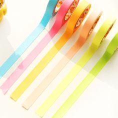 6 pcs/set Sweet Fluorescent Color Tape Decorative Adhesive Masking Tape DIY Sticker Label Washi Tape