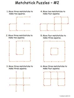 -Intermediate Matchstick Puzzles This is the second sheet in our series of matchstick puzzles. These are a bit more challenging so we qualify them as intermediate. Great for stiumulating lateral thinking. Puzzles Für Kinder, Puzzles For Kids, Worksheets For Kids, Thinking Skills, Critical Thinking, Math Activities, Math Games, Airplane Activities, Printable Brain Teasers