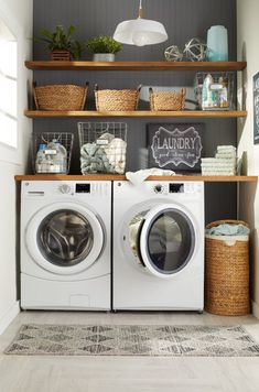 9 Steps to a Perfectly Organized Linen Closet Incorporate Decorati. - 9 Steps to a Perfectly Organized Linen Closet Incorporate Decorative Baskets - Modern Laundry Rooms, Laundry Room Layouts, Laundry Room Remodel, Laundry Room Design, Basement Laundry, Laundry Shelves, Laundry Decor, Laundry Room Small, Closet Laundry Rooms