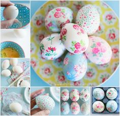 Feeling a bit underwhelmed by your usual Easter craft routine? Put away the dye, raid your paper stash, and then make pretty decoupage easter eggs instead! Plastic Easter Eggs, Easter Egg Dye, Easter Egg Crafts, Decopage, Mod Podge Crafts, Diy Crafts, Easter Egg Designs, Diy Ostern, Idee Diy