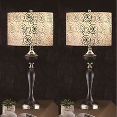@Overstock.com - Zebrano 31-inch Table Lamps (Set of 2) - These stunning exotic table lamps add modern flair to your home decor. Each set of two lamps is made of polyresin material and features an eye-catching silkened bell shade with an intricate swirled pattern. It also has a useful 3-way on/off switch.  http://www.overstock.com/Home-Garden/Zebrano-31-inch-Table-Lamps-Set-of-2/6263358/product.html?CID=214117 $112.49