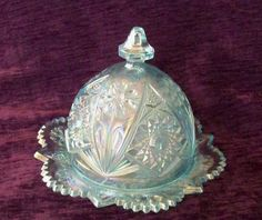 *CARNIVAL GLASS ~ Imperial Blue, Butter Dish, Domed Lid Cosmos Design Iridescent Pagoda Handle (MINT).