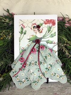 Poppy Flower Fairy Hanky Card by onceuponahanky on Etsy, $10.00