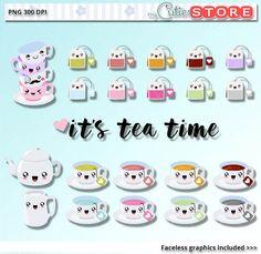 Su vez té Kawaii Clipart. Gráficos de tiempo de té lindo