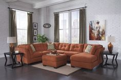 Ashley Furniture Delta City Sectional in Rust