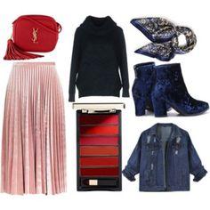 Long Pleated Skirt vs. Navy Woolen Jumper
