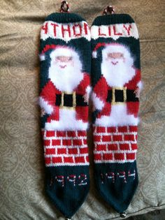 Hand Knit Christmas Stocking by Christmasknit on Etsy, $150.00