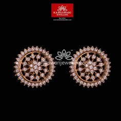 Mesmerizing collection of gold earrings from Kameswari Jewellers. Shop for designer gold earrings, traditional diamond earrings and bridal earrings collections online. Gold Bangles Design, Gold Earrings Designs, Gold Jewellery Design, Gold Jewelry, Diamond Jewelry, Diamond Earrings, Gold Designs, Coral Earrings, Designer Jewellery