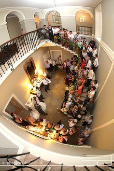Saltmarshe Hall wedding photography yorkshire photographer stephen armishaw beverley stunning stairwell during speeches