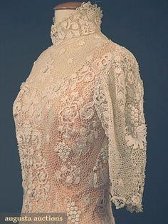 IRISH CROCHET TEA GOWN, c. 1910 1-piece trained high neck gown, back closure, short puff sleeve. Detail