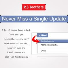 Attention fans! Now never Miss a single Update of ‪#‎R‬.S.Brothers. Now it's very easy to get your #R.S.Brothers ‪#‎Facebook‬ ‪#‎Updates‬!! It's a single click away to get latest updates and other Exciting offers & discount sale's information!