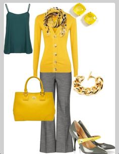 and gray work outfit.not sure if I can pull off the mustard.although I do have a mustard sweater!Mustard and gray work outfit.not sure if I can pull off the mustard.although I do have a mustard sweater! Office Outfits, Fall Outfits, Casual Outfits, Cute Outfits, Fashion Outfits, Womens Fashion, Fashion Trends, Outfit Winter, Work Outfits