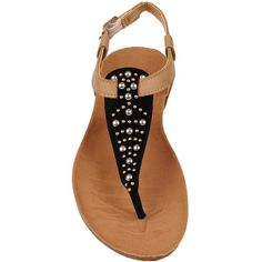 Black Rivet Slingback Sandal w/Cork Bottom ($35) ❤ liked on Polyvore featuring shoes, sandals, cork sandals, slingback shoes, summer slip on shoes, embellished sandals and pull on shoes