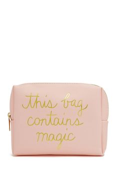 """A textured faux leather makeup bag featuring a metallic """"This Bag Contains Magic"""" graphic on front and a high-polish zip-top closure."""