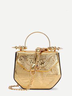 a8f002b06d9b Metallic PU Chain Crossbody Bag -SheIn(Sheinside) Metallic Bag
