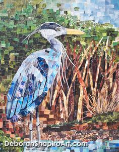 """Oprah's Heron"" made with cut pieces of magazine pages by Deborah Shapiro.  Size 30"" x 24"""
