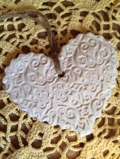 Ivory rustic salt dough heart with scalloped by OneRusticHeart, $5.00