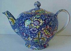 Royal Winton China BLUE ANEMONE CHINTZ Teapot Tea Pot GREAT!