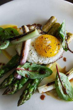 Roasted Delta asparagus, fried egg, spring onion, brown butter, preserved lemon at Haven, Oakland via HonestlyYUM