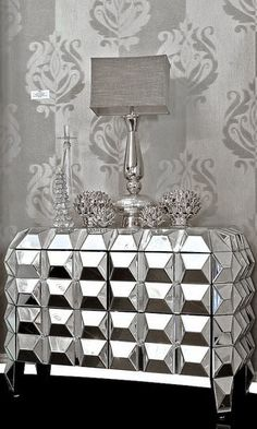♅ Dove Gray Home Decor ♅  Art Deco inspired mirrored chest