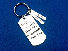 Hand Stamped Keychain, Fathers Keychain, Dad Keychain, Personalized Keychain, Sons Hero Keychain, Daughters Love Keychain, Fathers Day Gift by CharmedMetals on Etsy