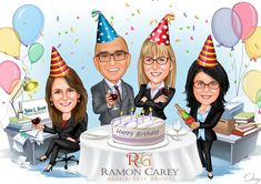 We would like to use our original caricatures but change it up to a Happy Birthday design. Put balloons around the outside, party hats on each of us. A table with a white tablecloth, and add our logo on the bottom part and on top of the table a birthday cake with candles and that read's Happy Birthday. Party Cartoon, Birthday Cartoon, Cartoon Pics, Cartoon Characters, Happy Birthday, 60th Birthday Party, Friend Birthday, Birthday Cake With Candles, Party Hats