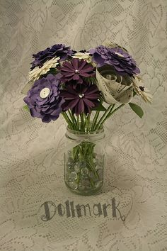 Purples Shiny White and Music Paper Flower Bouquet  by Dollmark, $45.00