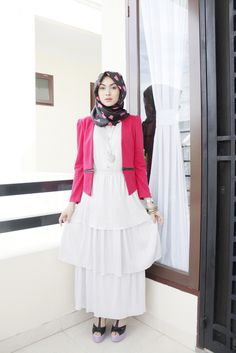 Indah nada puspita Hijab Dress, Peplum Dress, Modest Outfits, Modest Fashion, Hijab Collection, Hijab Fashionista, Beautiful Hijab, Street Style, Hijabs