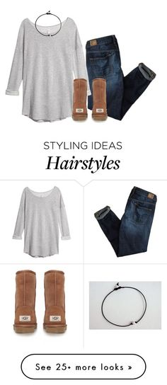 """The world is suffering and yet people cry about their hair"" by classicallyclaire on Polyvore featuring American Eagle Outfitters, H&M and UGG Australia"