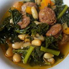 Kale, white bean, & linguica soup.. So much flavor! Done in 20 minutes in the pressure cooker....