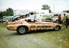 Funny Cars - Jim Harrison and the US Marines car Nhra Drag Racing, Road Racing, Funny Cars, Vintage Race Car, Drag Cars, Vintage Humor, School Humor, Car Humor, The Good Old Days