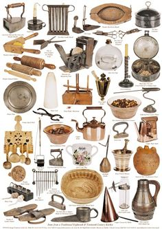 Items from a Traditional 18th & 19th Century Kitchen  These items are nearly all in the collection of Number 1 Royal Crescent Museum in Bath. They were collected by Hugh Roberts and donated to the Museum. Some of the items bear a resemblance to those used in our kitchens today. However Box irons were filled with charcoal and must have been very heavy and cumbersome unlike our modern irons. Tin Spice Boxes usually contain six inside sections for spices.  http://www.fredericacards.co.uk
